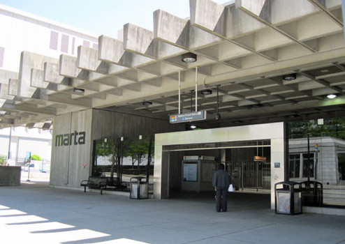 A MARTA station in Atlanta. Profits from property leasing can help pay for commuter rail and has been more and more in recent years.