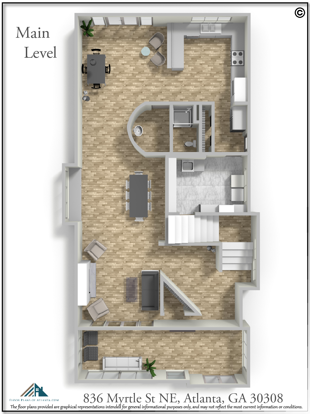 Main Level Floor Plan - Perspective #4