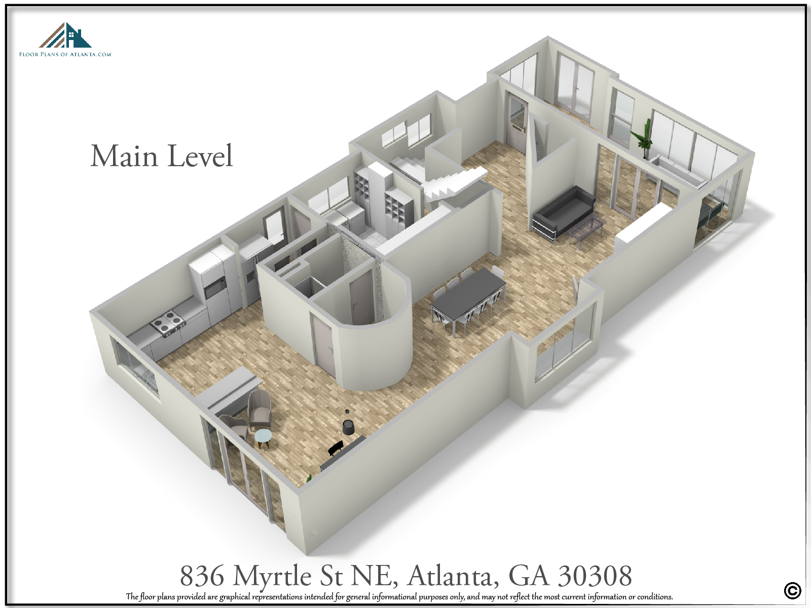 Main Level Floor Plan - Perspective #1