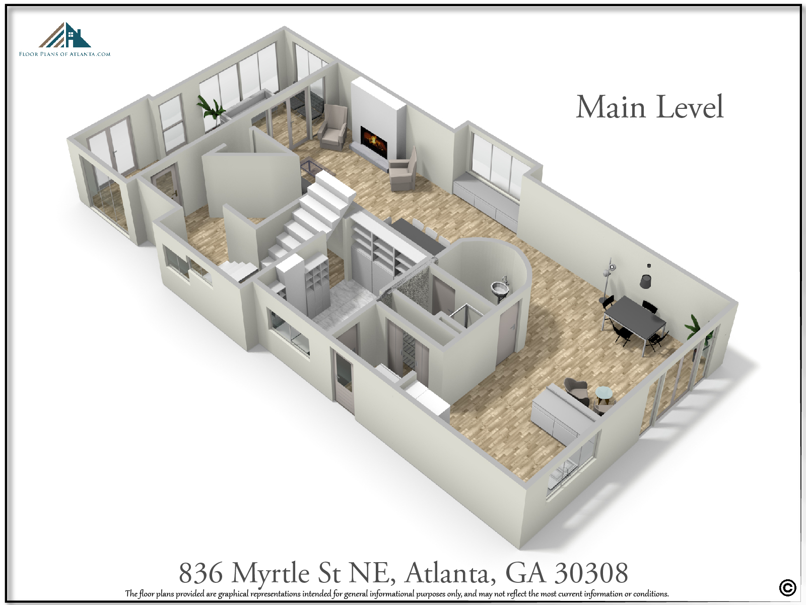Main Level Floor Plan - Perspective #3