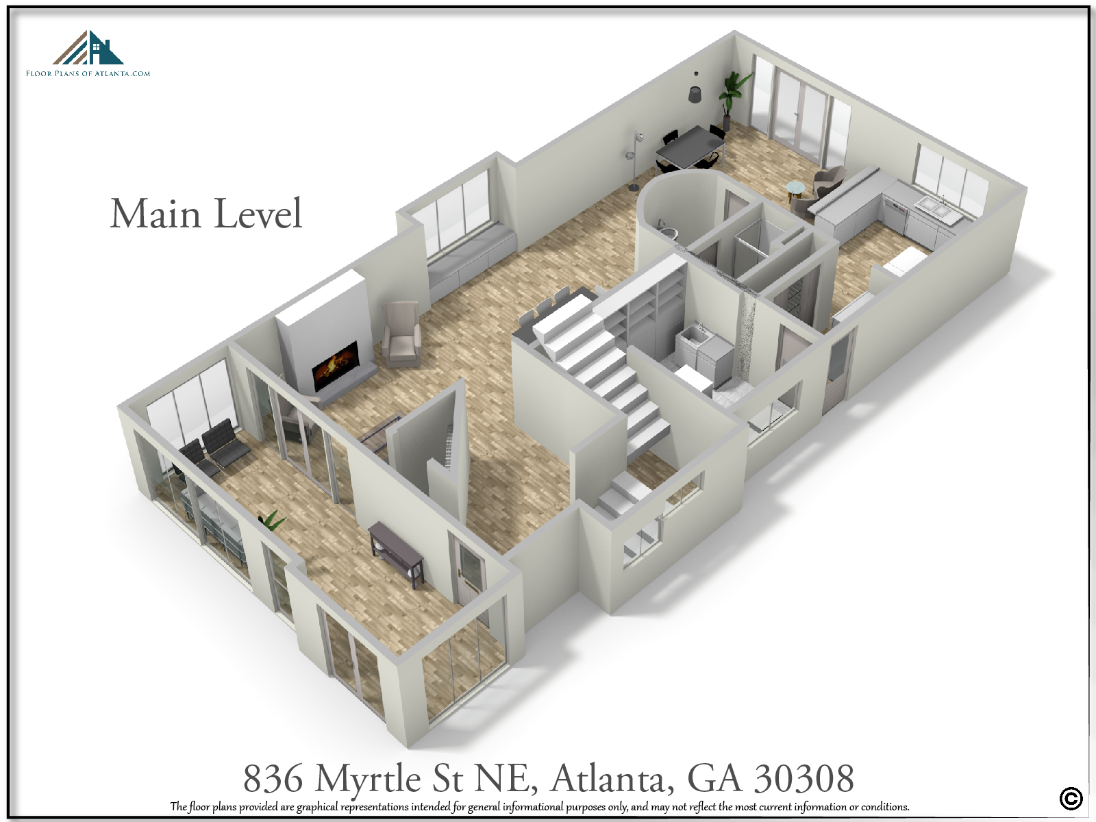 Main Level Floor Plan - Perspective #2
