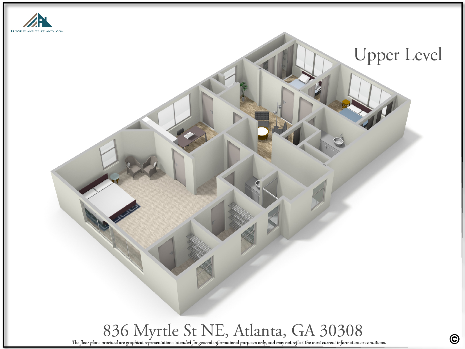 Upper Level Floor Plan - Perspective #1