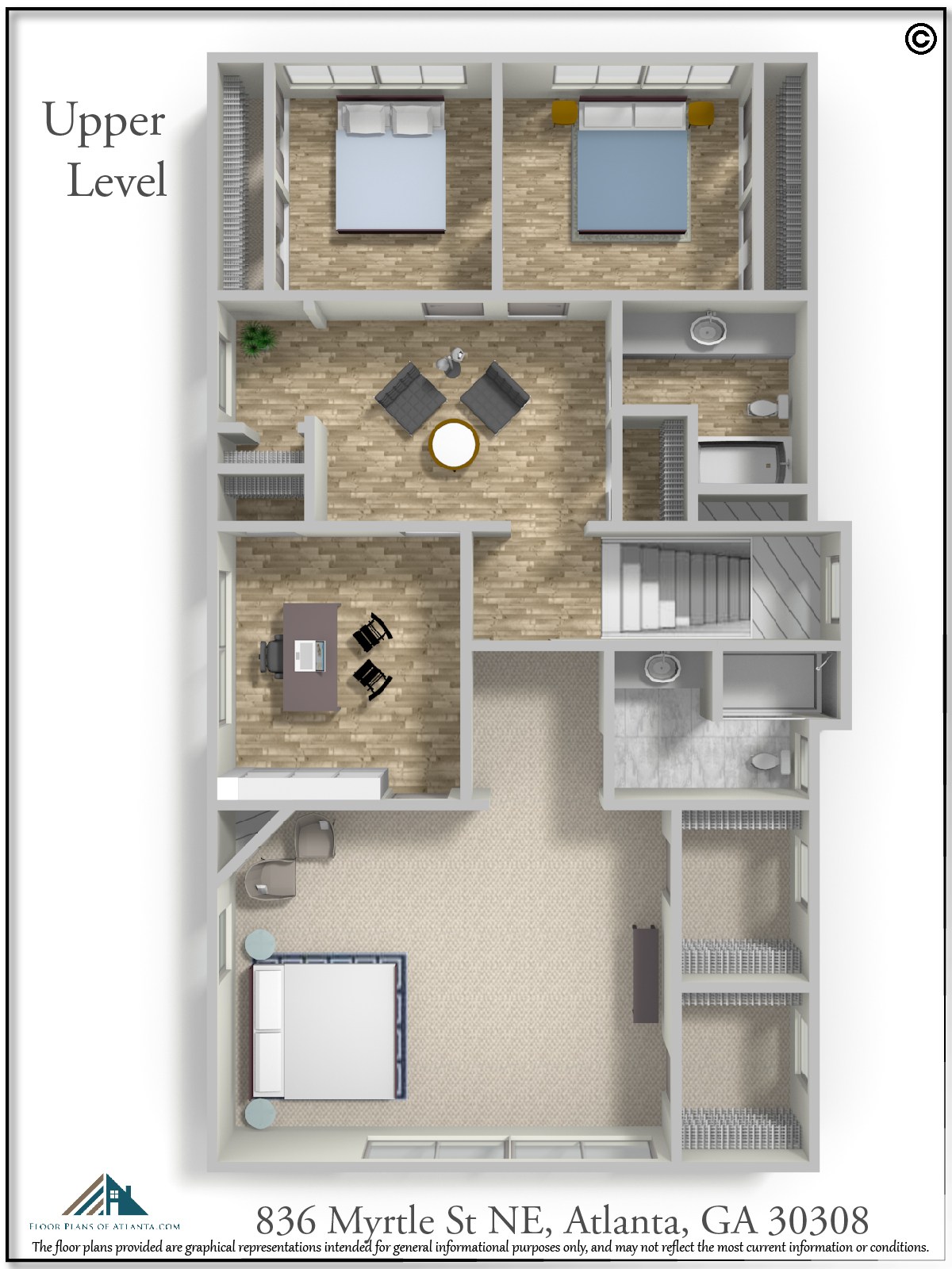 Upper Level Floor Plan - Perspective #3