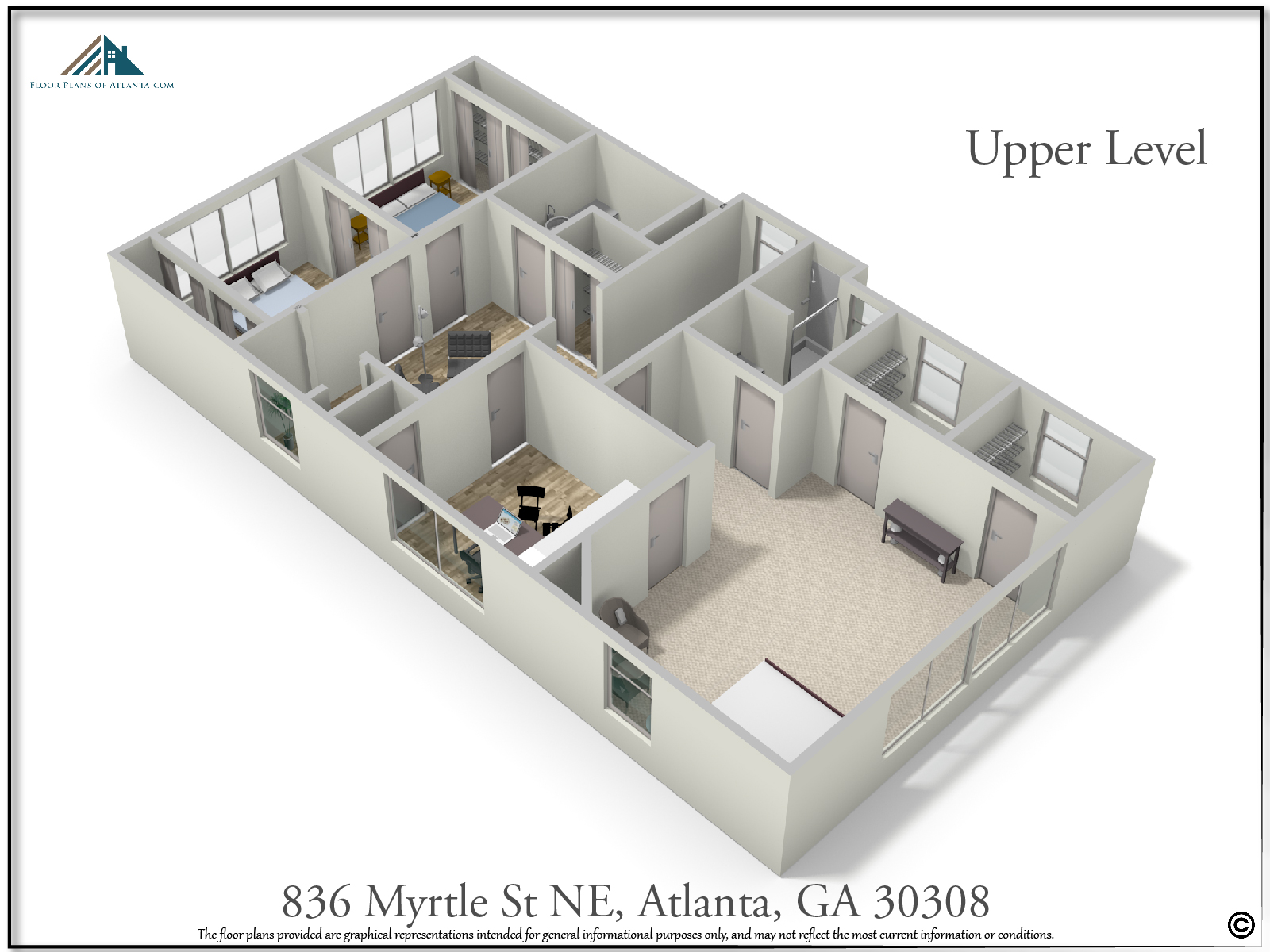 Upper Level Floor Plan - Perspective #2