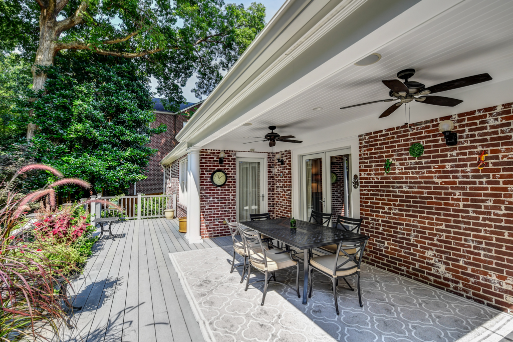 New covered porch for entertaining includes fans & built-in speakers