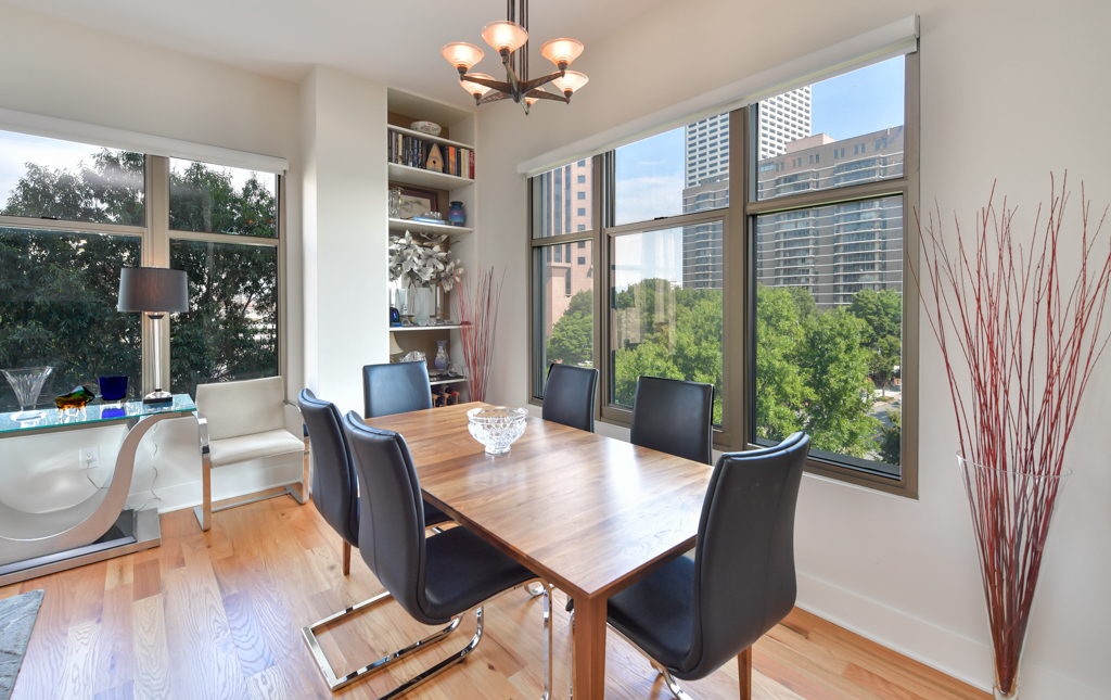 5. Separate dining area with custom built-ins on either side